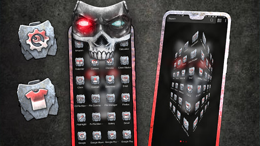 Metal Skull Mask Launcher Theme