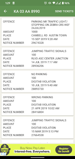 Traffic Bangalore: Check Fines